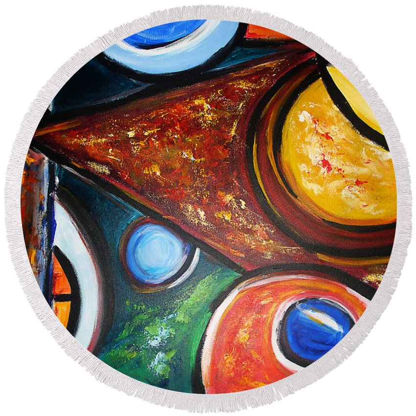Abstract Painting Round Beach Towel featuring the painting Circles Of Life by Yael VanGruber
