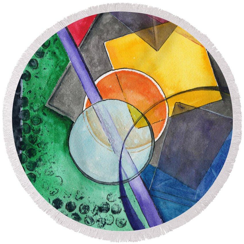 Watercolor Round Beach Towel featuring the painting Circular Confusion by Brenda Owen