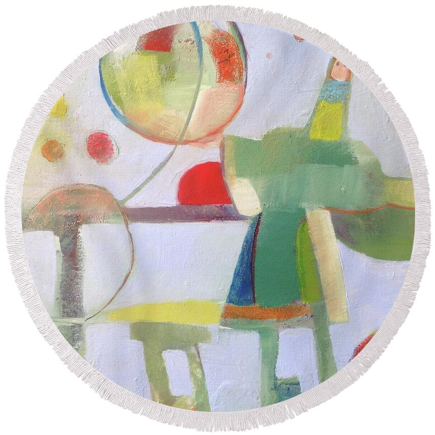 Circus Round Beach Towel featuring the painting Circus Act by Michelle Abrams
