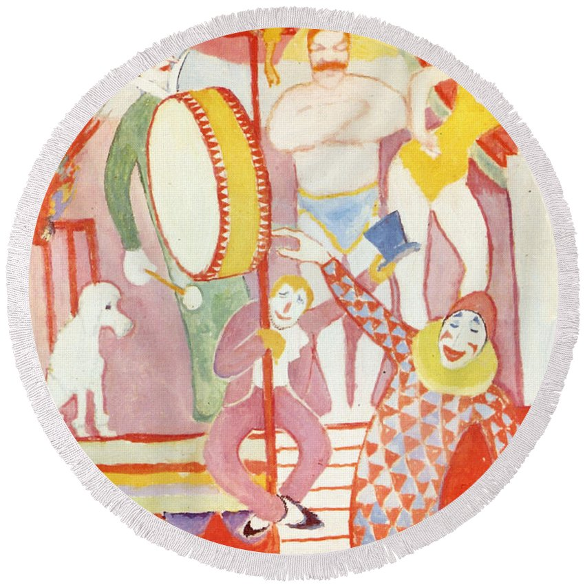 August Macke Round Beach Towel featuring the painting Circus by August Macke