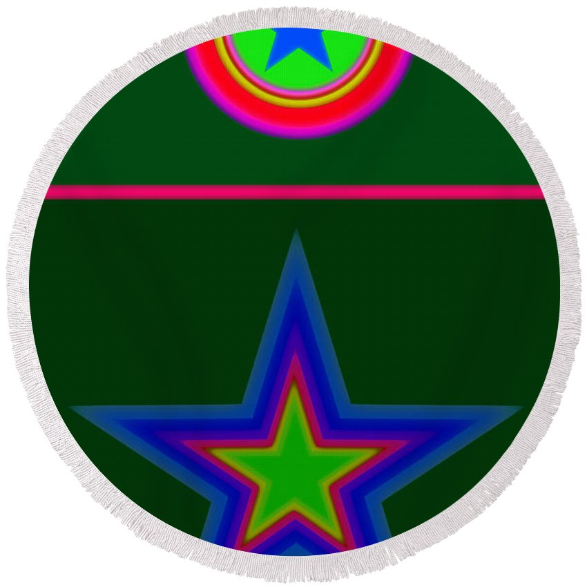 Circus Round Beach Towel featuring the digital art Circus Green by Charles Stuart