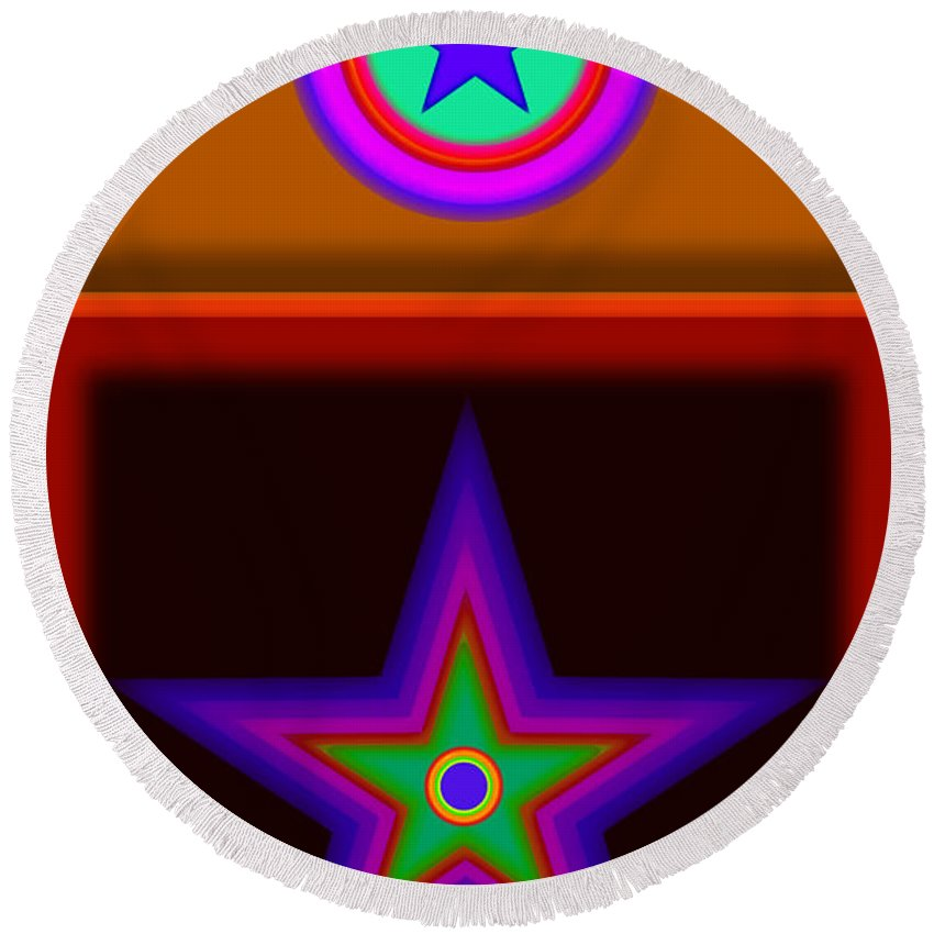 Classical Round Beach Towel featuring the digital art Circus Star by Charles Stuart