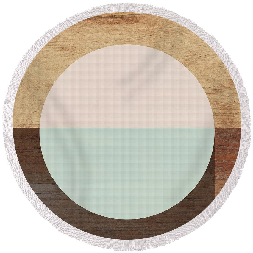 Modern Round Beach Towel featuring the mixed media Cirkel in Peach and Mint- Art by Linda Woods by Linda Woods