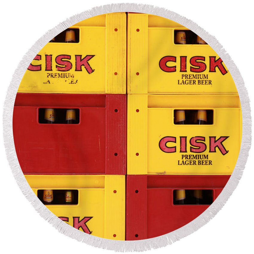 Cisk Round Beach Towel featuring the photograph Cisk Larger Beer by Jacqueline Moore
