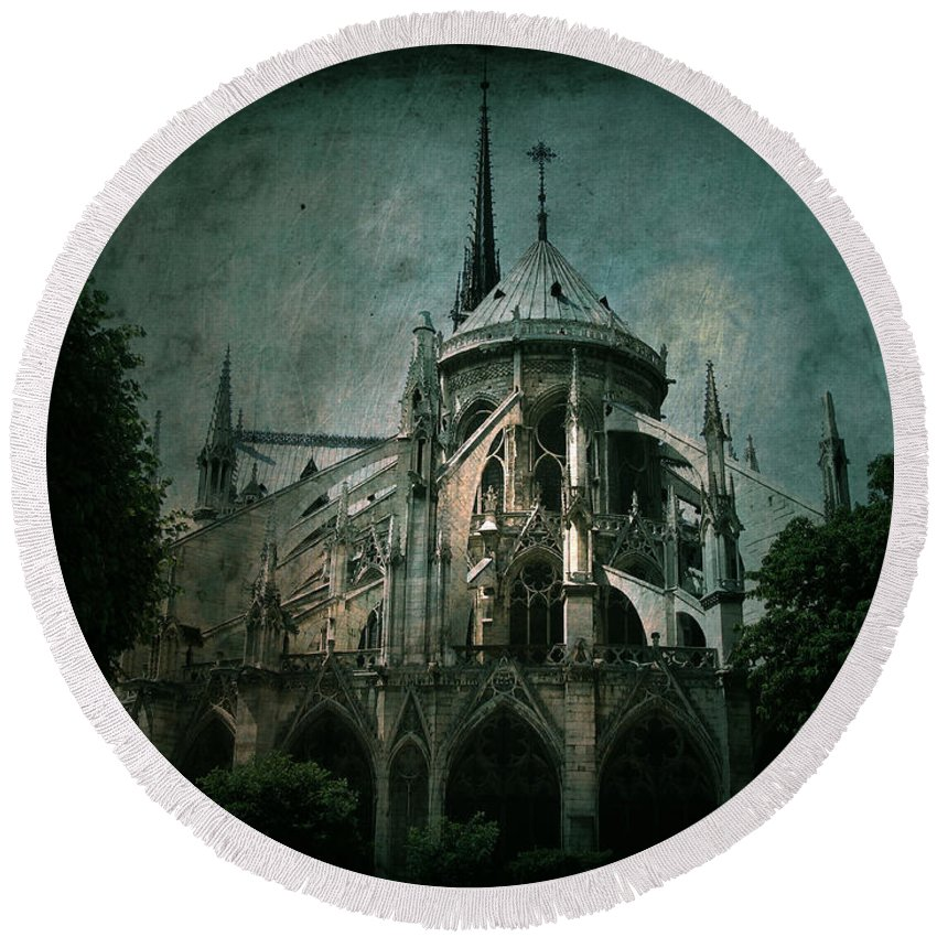Notre Dame Round Beach Towel featuring the photograph Citadel by Andrew Paranavitana