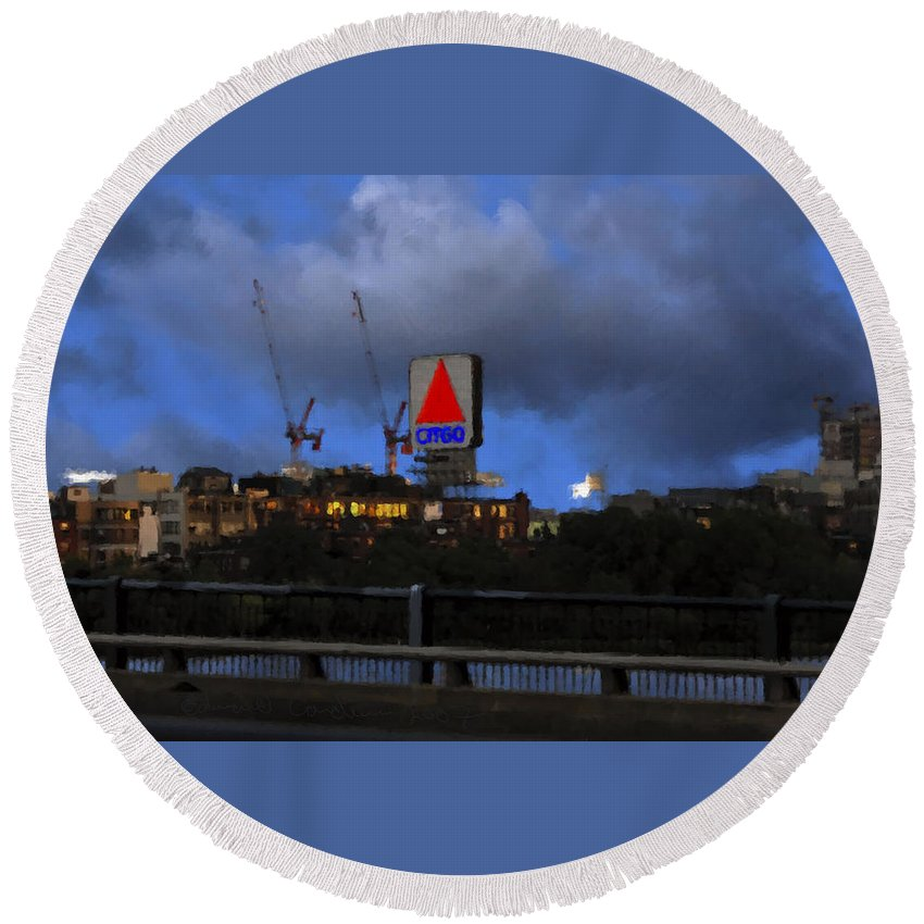 Citgo Sign Round Beach Towel featuring the digital art Citgo Sign by Edward Cardini