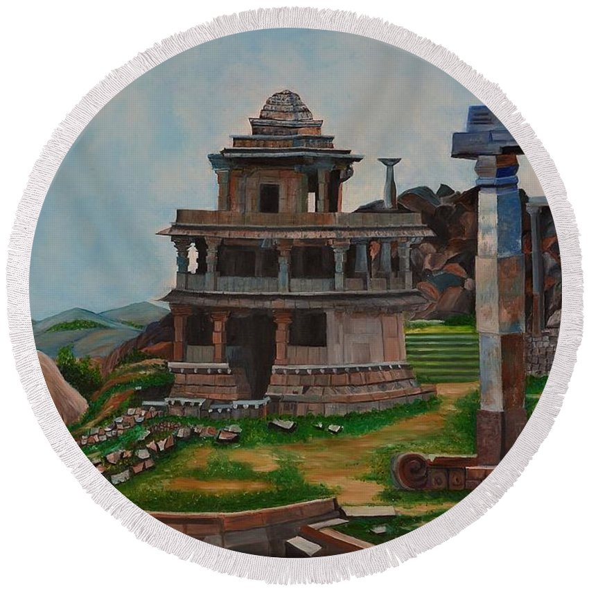 Landscape Round Beach Towel featuring the painting Cithradurga Fort by Usha Rai