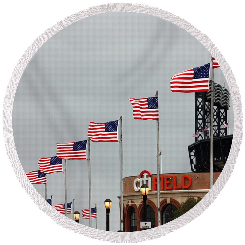 Citi Field Round Beach Towel featuring the photograph Citifield And American Flags by Nishanth Gopinathan