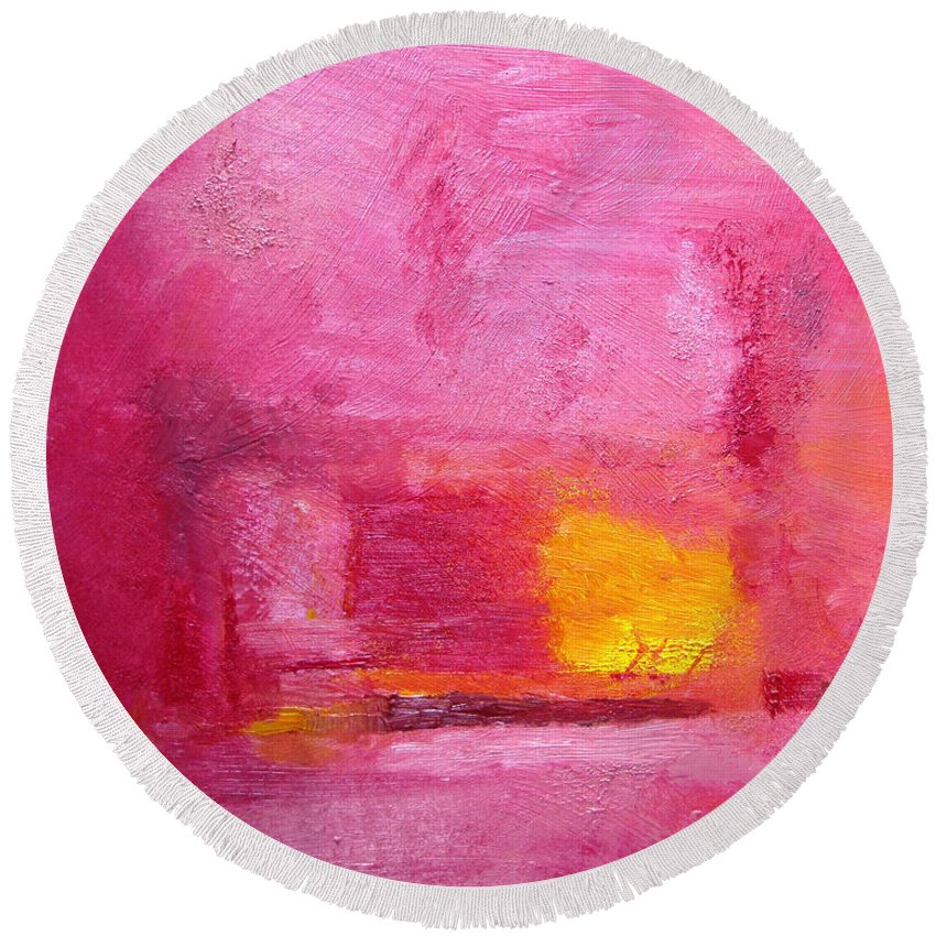 Abstract Round Beach Towel featuring the painting Citrus Blush by Ruth Palmer