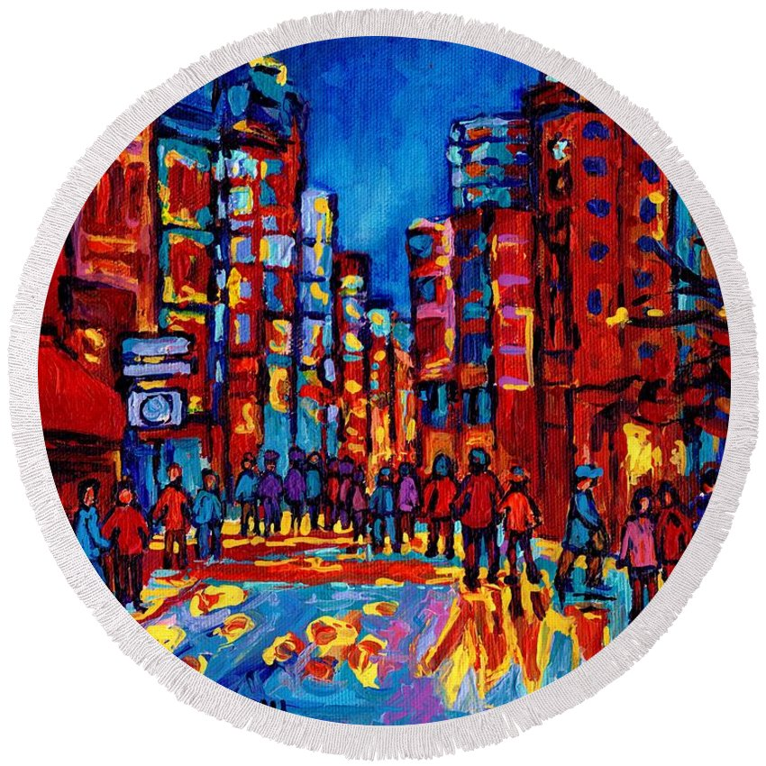 Montreal Round Beach Towel featuring the painting City After The Rain by Carole Spandau