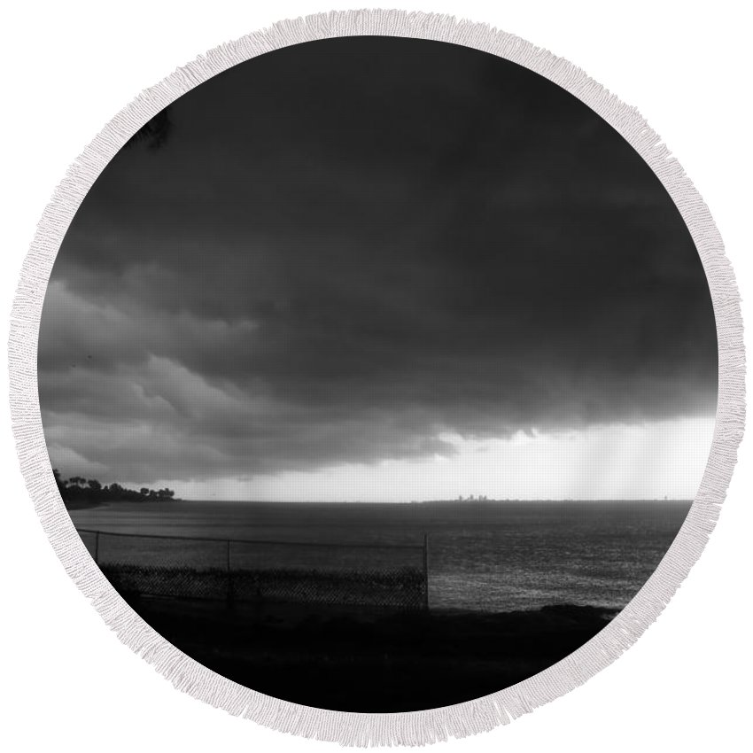 City Round Beach Towel featuring the photograph City Against The Storm by David Lee Thompson