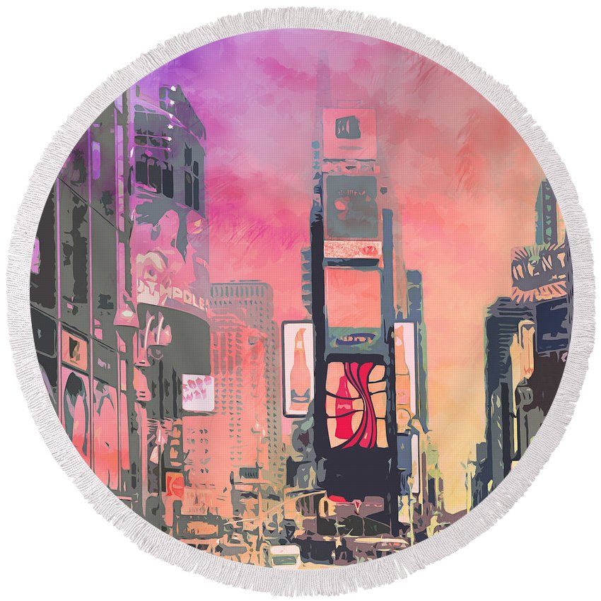 Times Square Round Beach Towels