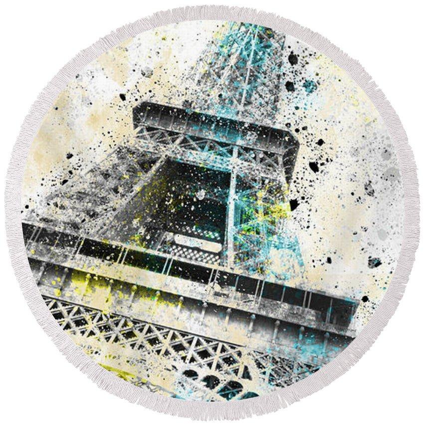 Europe Round Beach Towel featuring the photograph City-art Paris Eiffel Tower Iv by Melanie Viola