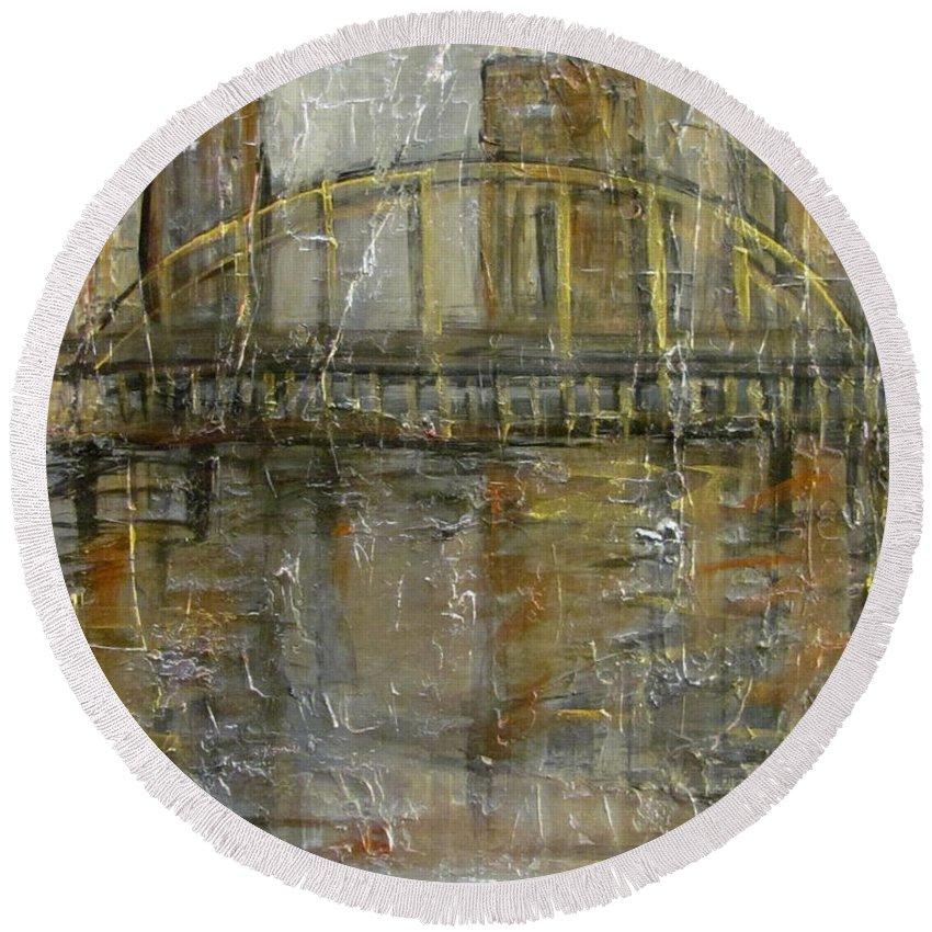 Bridge Round Beach Towel featuring the painting City Bridge by Anita Burgermeister