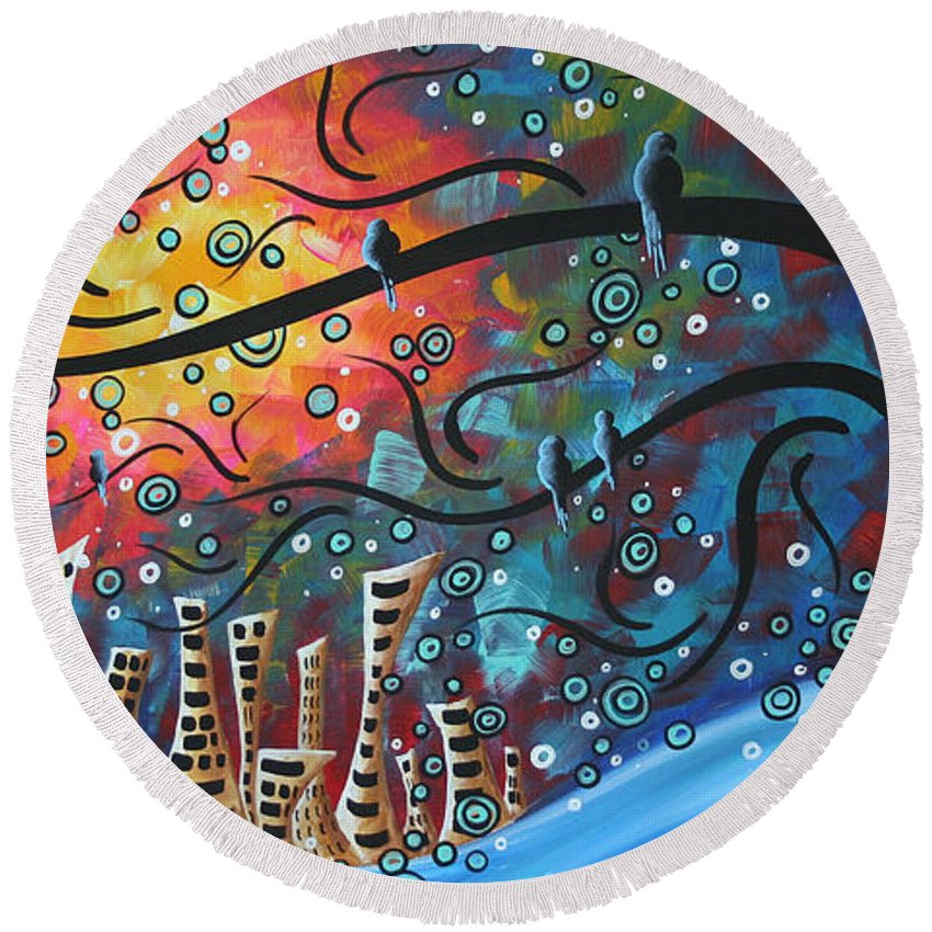 Art Round Beach Towel featuring the painting City By The Sea By Madart by Megan Duncanson