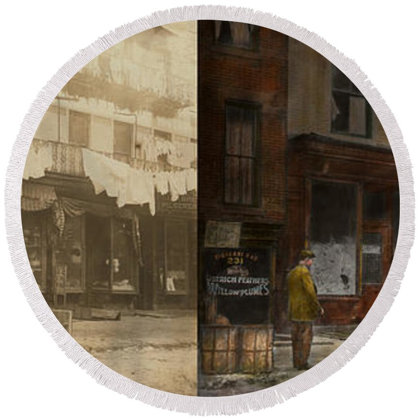 Self Round Beach Towel featuring the photograph City - Elegant Apartments - 1912 - Side By Side by Mike Savad