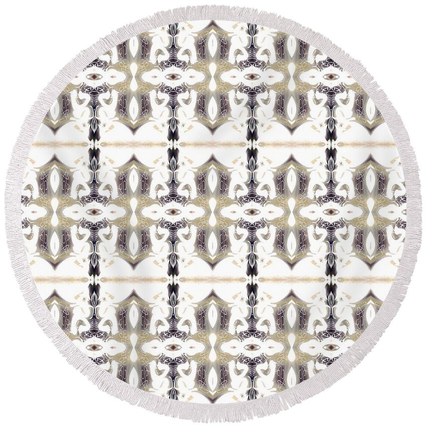 Abstract Pattern Round Beach Towel featuring the digital art City by Elisabeth Skajem Atter