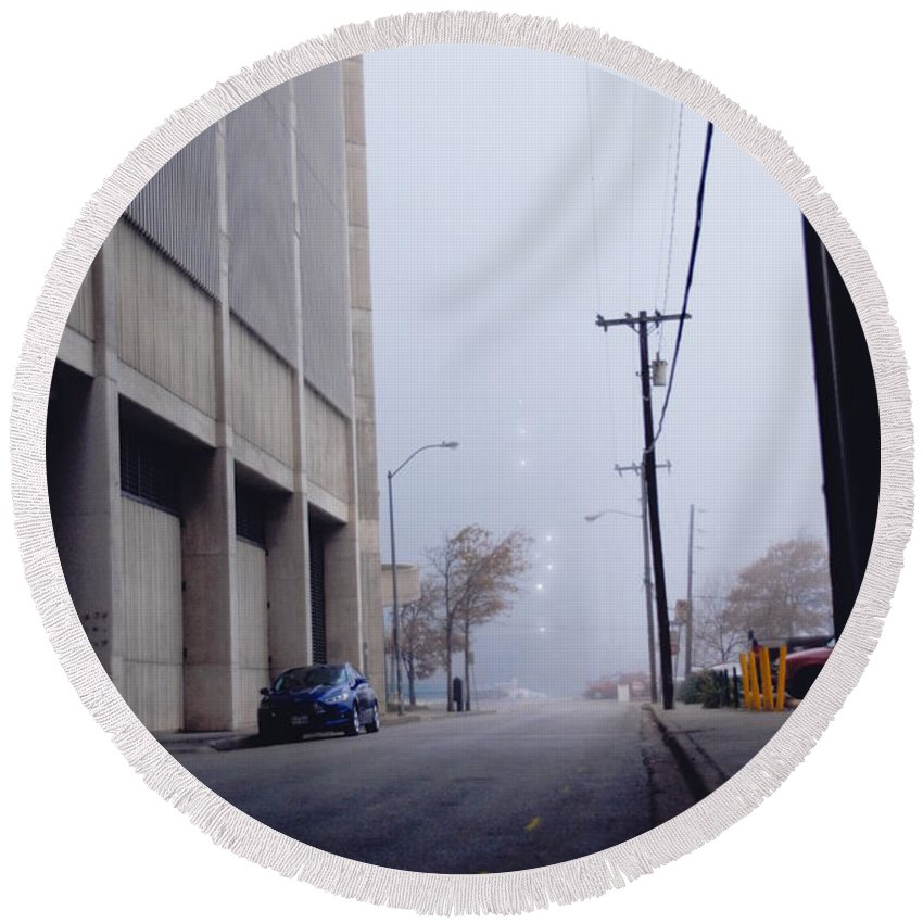 Round Beach Towel featuring the photograph City Fog by Emily Miller