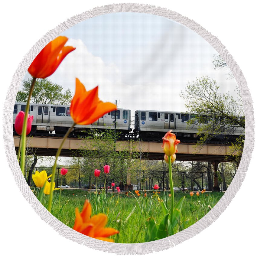Garfield Park Conservatory Round Beach Towel featuring the photograph City Garden Chicago L Train by Kyle Hanson