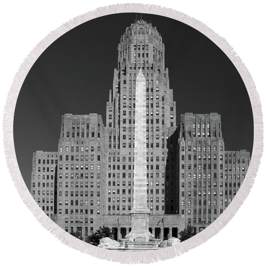Architecture Round Beach Towel featuring the photograph City Hall 0953 by Guy Whiteley