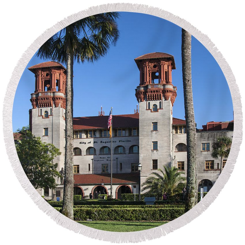 City Hall Round Beach Towel featuring the photograph City Hall And Lightner Museum by Sally Weigand