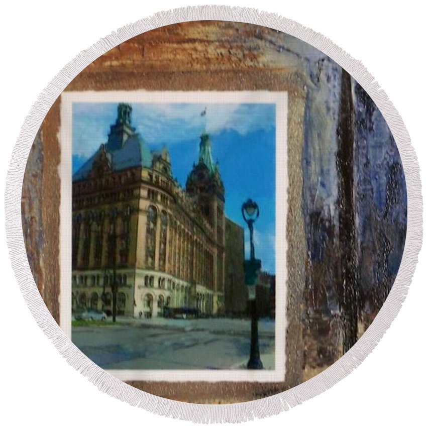 City Hall Round Beach Towel featuring the mixed media City Hall And Street Lamp by Anita Burgermeister