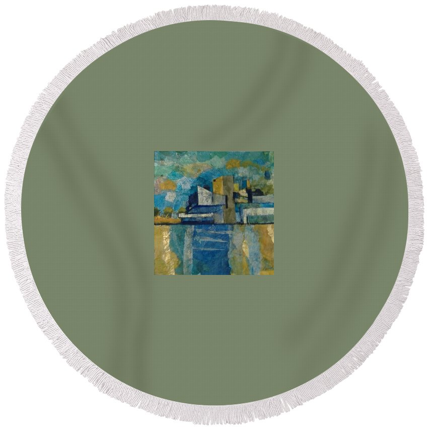 Round Beach Towel featuring the mixed media City In Harmony by Pat Snook