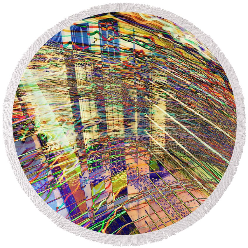 City Round Beach Towel featuring the photograph City In Motion 29 by Don Zawadiwsky