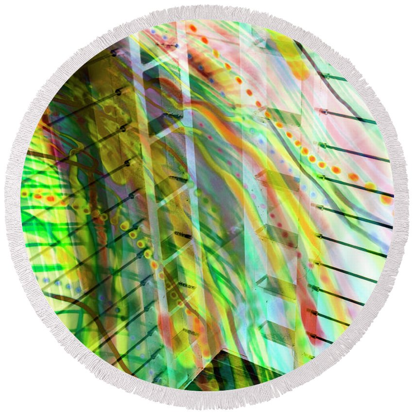 City Round Beach Towel featuring the photograph City In Motion 56 by Don Zawadiwsky