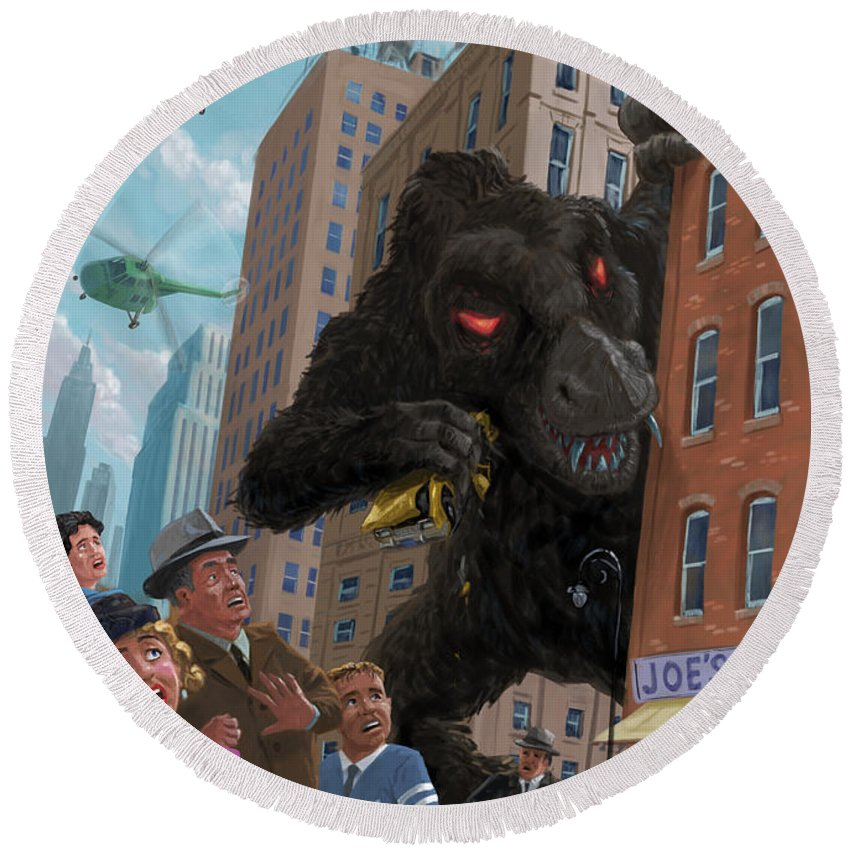 City Round Beach Towel featuring the digital art City Invasion Furry Monster by Martin Davey
