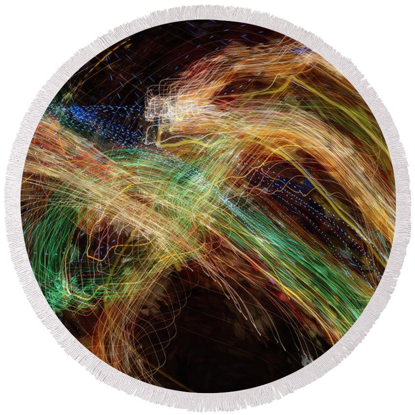 Abstract Round Beach Towel featuring the photograph City Lights 11 by Don Zawadiwsky