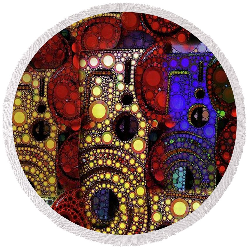 Abstract Round Beach Towel featuring the digital art City Lights by Ron Bissett
