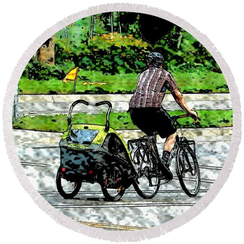 Man Round Beach Towel featuring the photograph City Man On A Bike by Curtis Tilleraas
