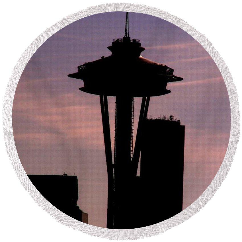 Seattle Round Beach Towel featuring the digital art City Needle by Tim Allen