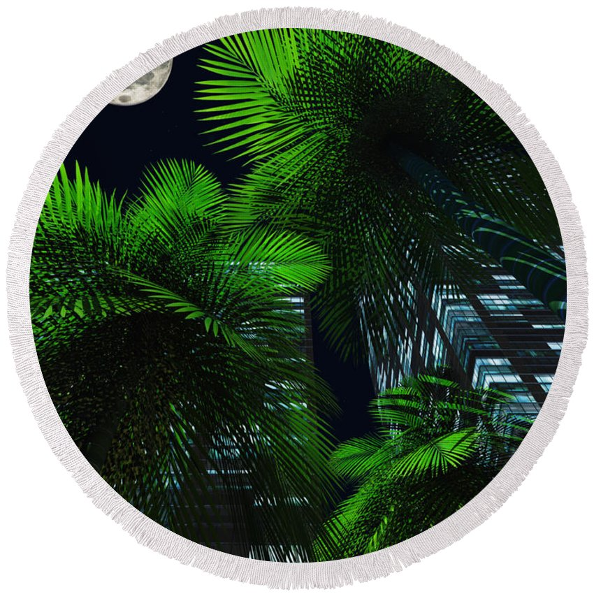 Tropics Round Beach Towel featuring the digital art City Nights by Richard Rizzo