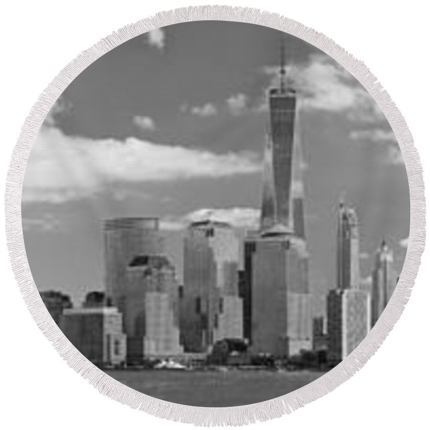 City Round Beach Towel featuring the photograph City - Ny - The Shades Of A City by Mike Savad