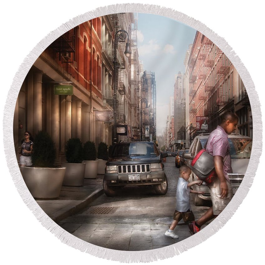 Savad Round Beach Towel featuring the photograph City - Ny - Walking Down Mercer Street by Mike Savad