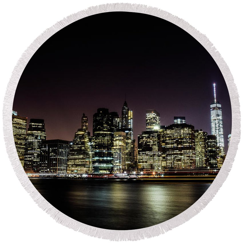 New York City Round Beach Towel featuring the photograph City Of Blinding Light by Andrea Gargantini