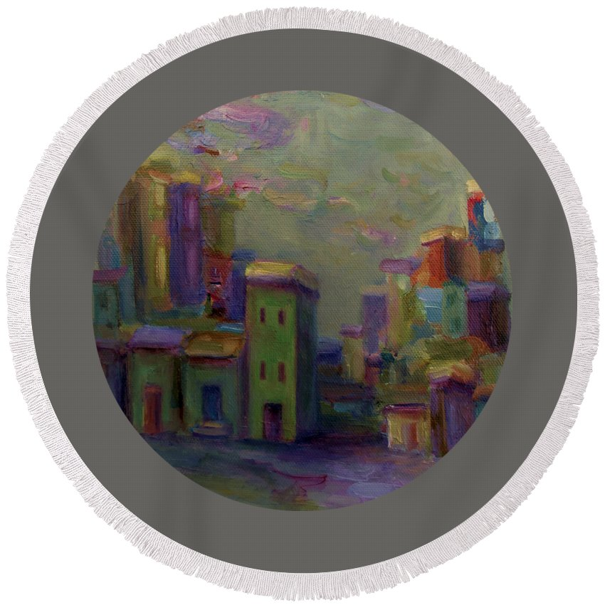 Cityscape Round Beach Towel featuring the painting City Of Color And Light by Mary Wolf
