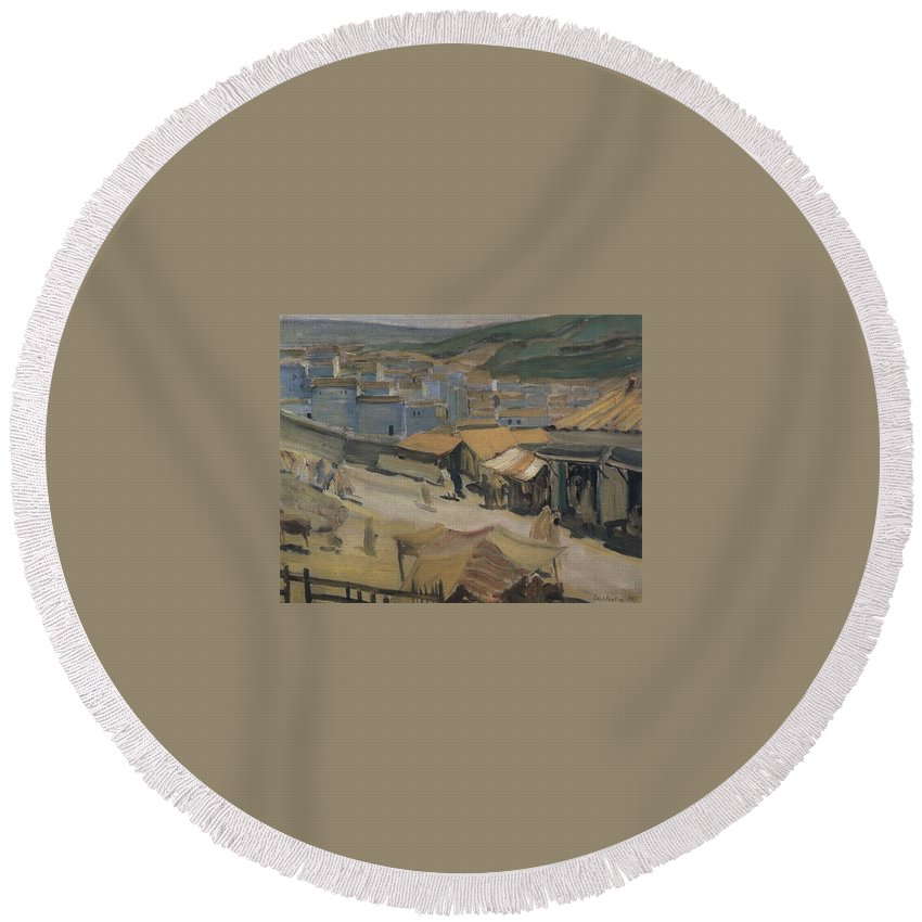 Puzzle Round Beach Towel featuring the digital art City Of Constantine Algeria 1907 Kuzma Sergeevich Petrov-vodkin by Eloisa Mannion