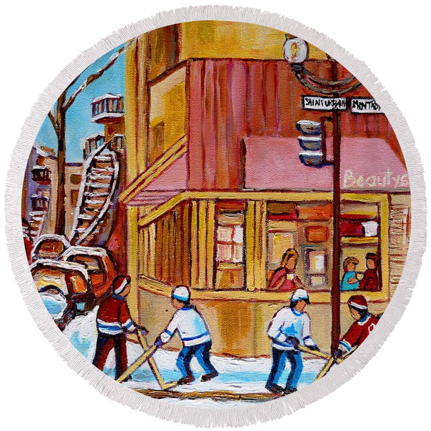 Montreal Round Beach Towel featuring the painting City Of Montreal St. Urbain And Mont Royal Beautys With Hockey by Carole Spandau