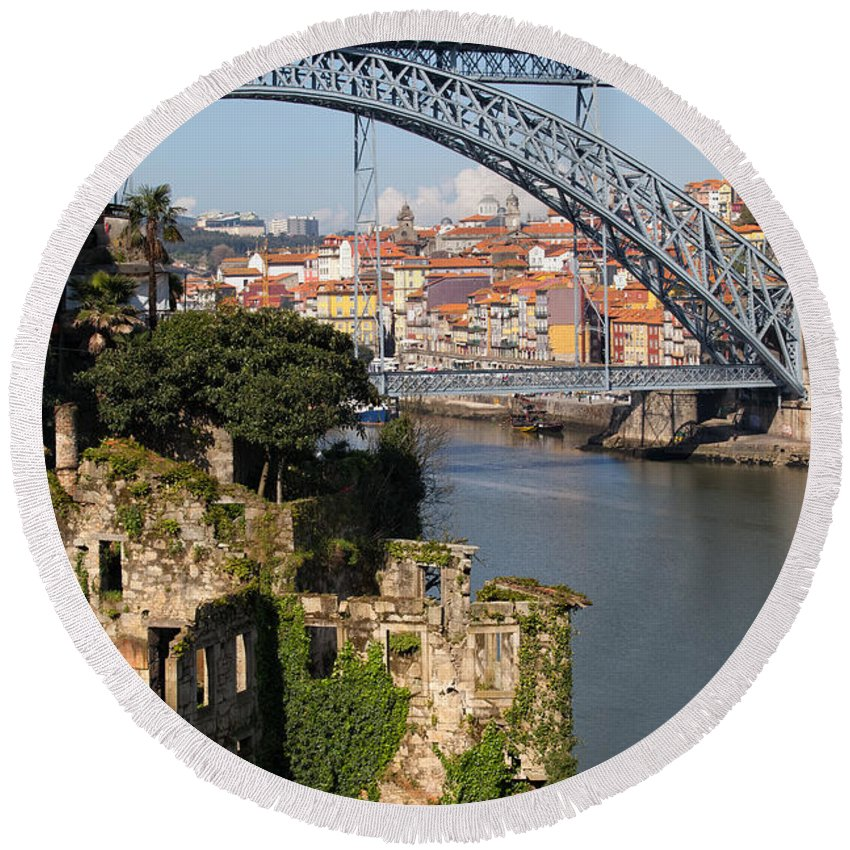 Porto Round Beach Towel featuring the photograph City Of Porto In Portugal Picturesque Scenery by Artur Bogacki
