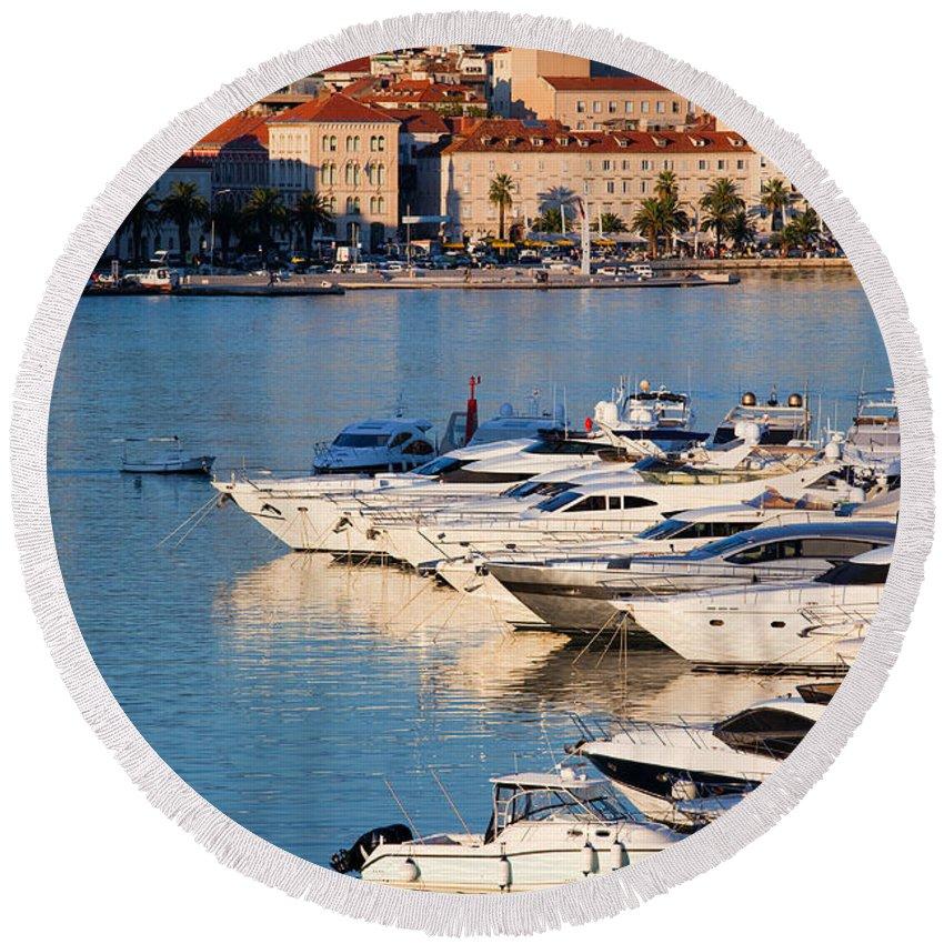 Split Round Beach Towel featuring the photograph City Of Split In Croatia by Artur Bogacki