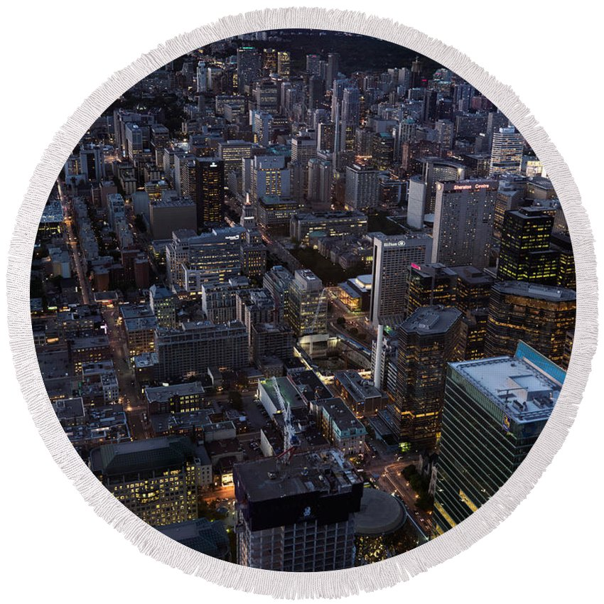 Toronto Round Beach Towel featuring the photograph City Of Toronto Downtown After Sunset by Oleksiy Maksymenko