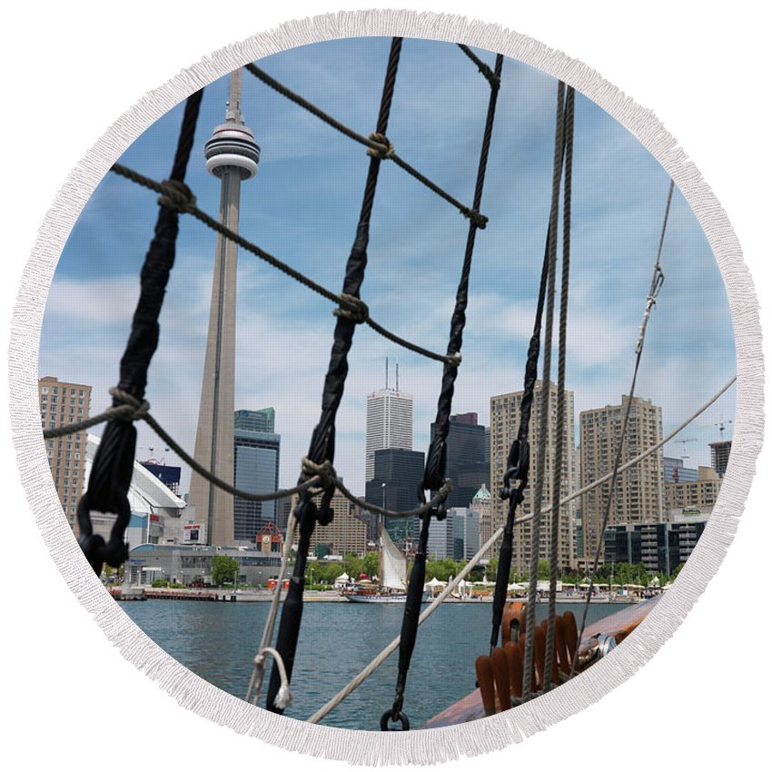 Toronto Round Beach Towel featuring the photograph City Of Toronto View From Sailing Vessel by Maxim Images Prints