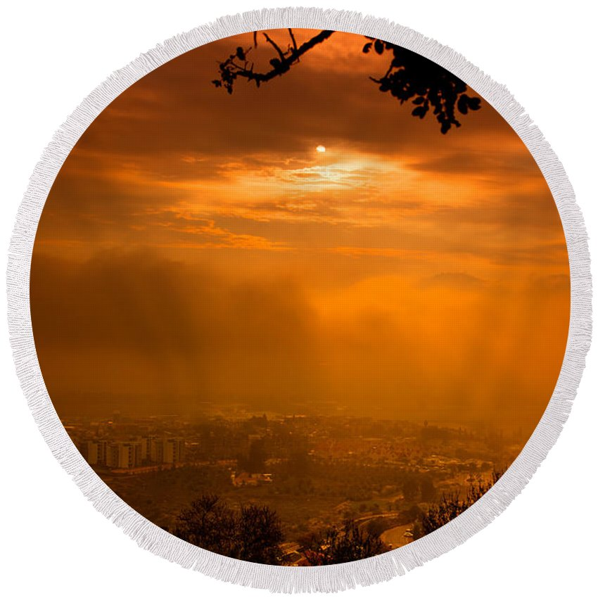 Trees Round Beach Towel featuring the photograph City On Fire by Mark Perelmuter
