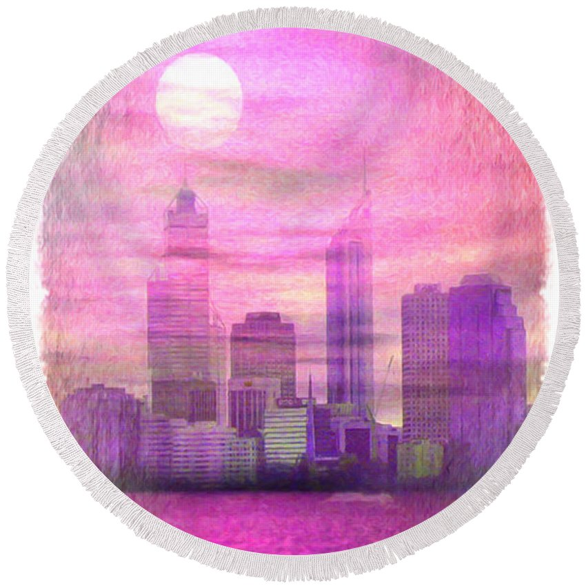 Night Round Beach Towel featuring the painting City On Night View by Jeelan Clark