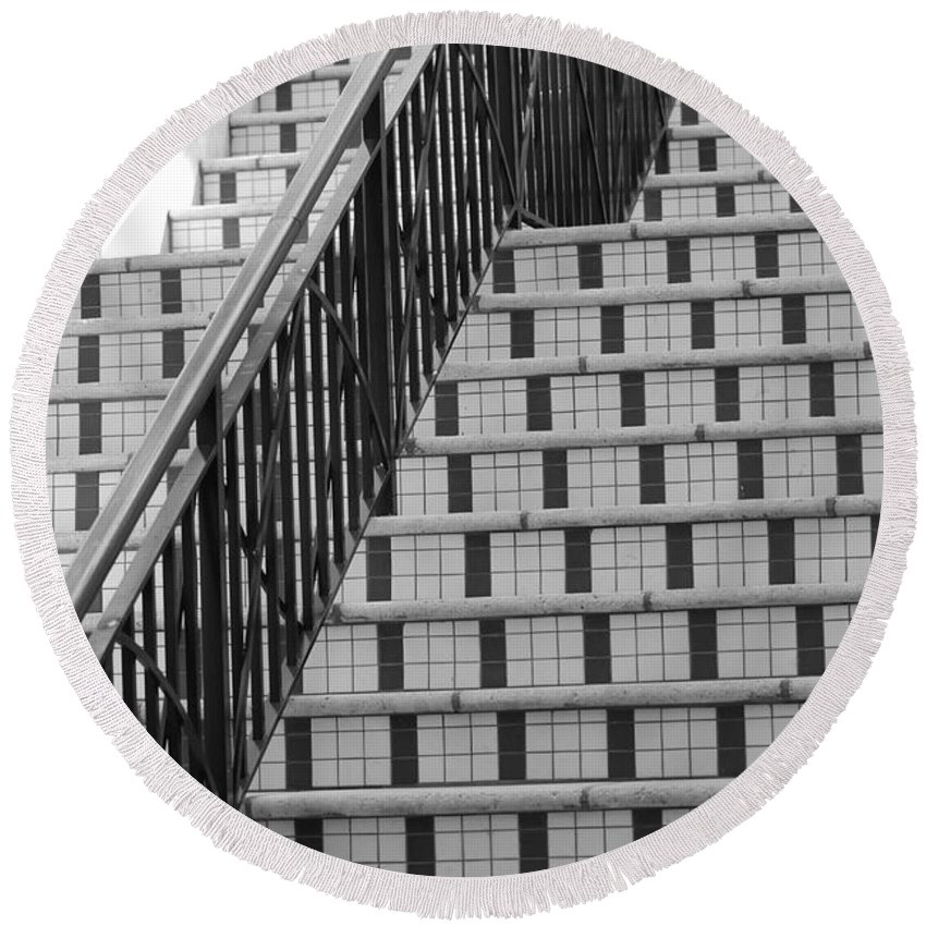 Architecture Round Beach Towel featuring the photograph City Stairs II by Rob Hans