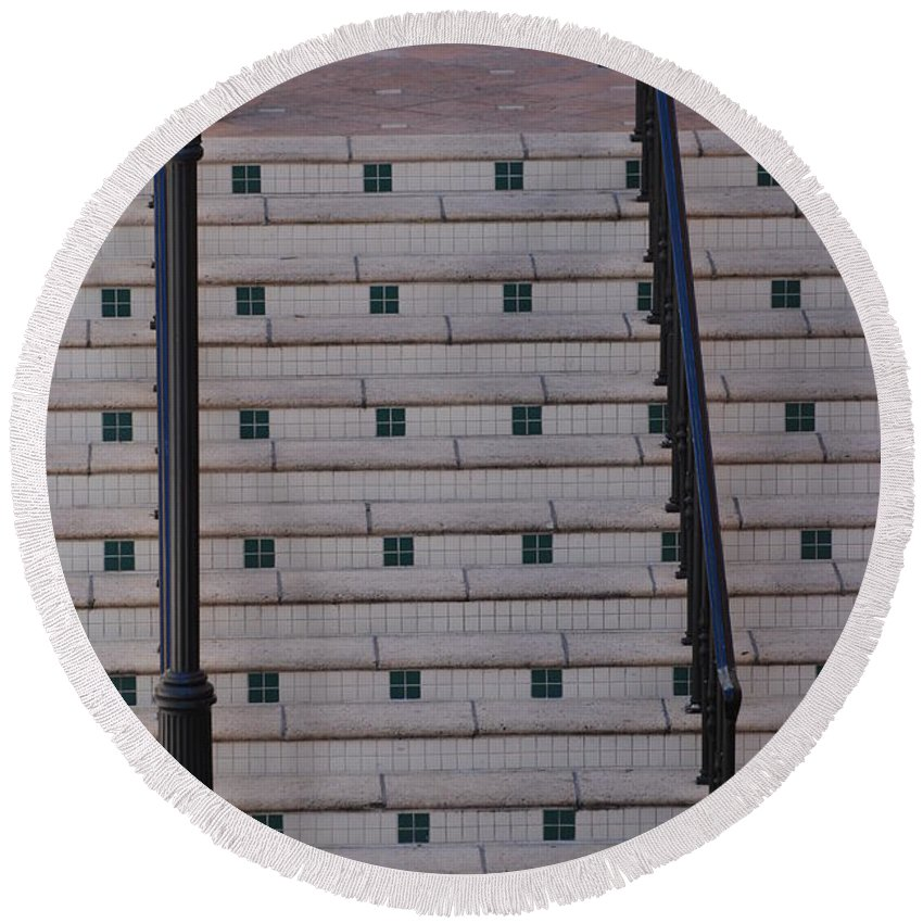 Architecture Round Beach Towel featuring the photograph City Stairs by Rob Hans