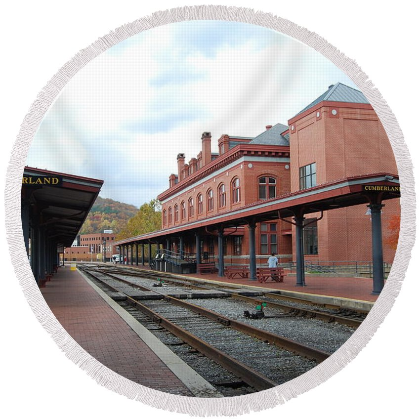 Historic Round Beach Towel featuring the photograph Cumberland City station by Eric Liller